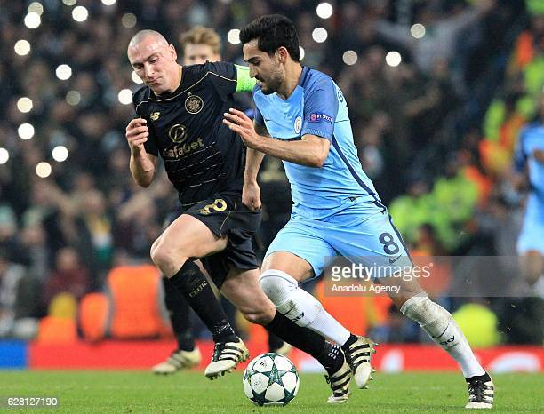 Celtic's striker Scott Brown in action against Manchester Citys midfielder Ilkay Gundogan during the Champions League Group C stage soccer match...