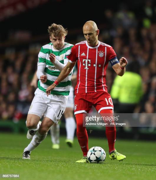 Celtic's Stuart Armstrong and Bayern Munich's Arjen Robben battle for the ball during the UEFA Champions League Group B match at Celtic Park Glasgow