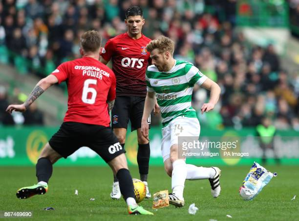 Celtic's Stuart Armstrong and Kilmarnock's Alan Power battle for the ball during the Ladbrokes Scottish Premiership match at Celtic Park Glasgow