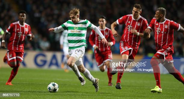 Celtic's Stuart Armstrong breaks during the UEFA Champions League Group B match at Celtic Park Glasgow