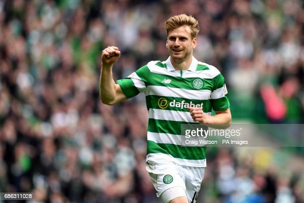 Celtic's Stuart Armstrong celebrates scoring his sides second goal during the Ladbrokes Scottish Premiership match at Celtic Park Glasgow