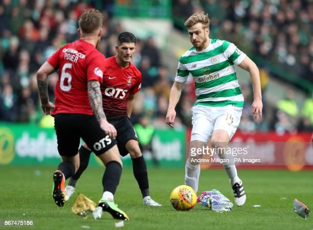 Celtic's Stuart Armstrong challenges Kilmarnock's Alan Power during the Ladbrokes Scottish Premiership match at Celtic Park Glasgow