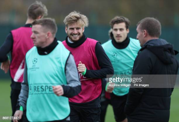 Celtics Stuart Armstrong during the training session at Lennoxtown Glasgow
