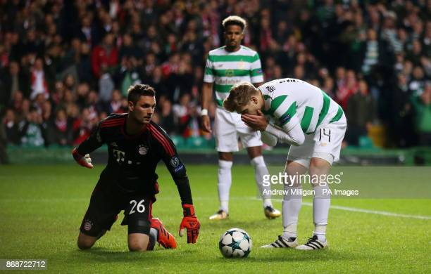 Celtic's Stuart Armstrong reacts after a missed chance during the UEFA Champions League Group B match at Celtic Park Glasgow