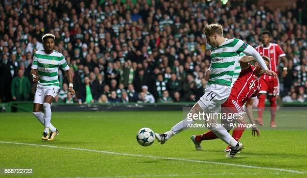 Celtic's Stuart Armstrong shoots during the UEFA Champions League Group B match at Celtic Park Glasgow