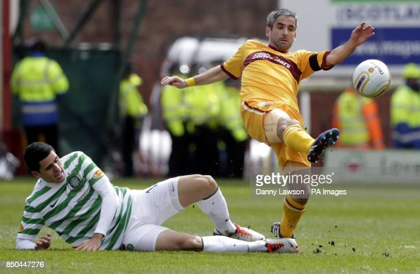 Celtic's Thomas Rogic and Motherwell's Keith Lasley fight for the ball during the Clydesdale Bank Scottish Premier League match at Fir Park Motherwell