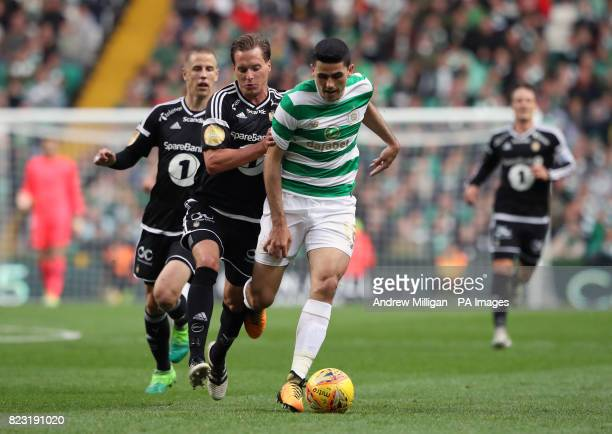 Celtic's Tom Rogic and Rosenborg's Anders Konradsen battle for the ball during the UEFA Champions League third round qualifying round first leg match...