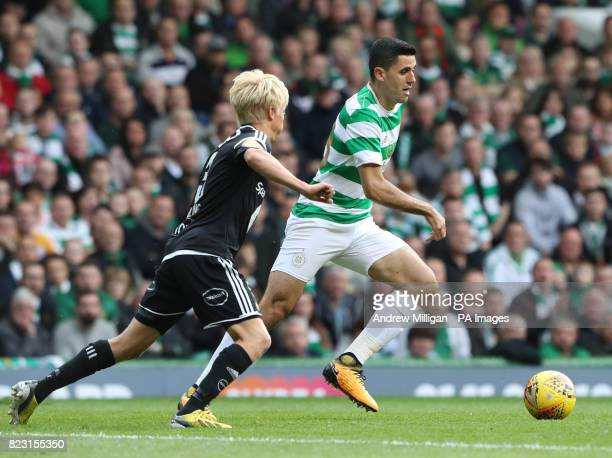 Celtic's Tom Rogic and Rosenborg's Birger Meling battle for the ball during the UEFA Champions League third round qualifying match at Celtic Park...