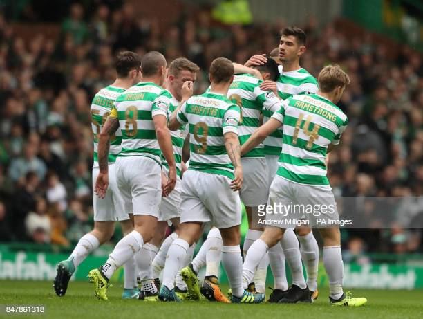 Celtic's Tom Rogic celebrates scoring his side's first goal of the game during the Ladbrokes Scottish Premiership match at Celtic Park Glasgow
