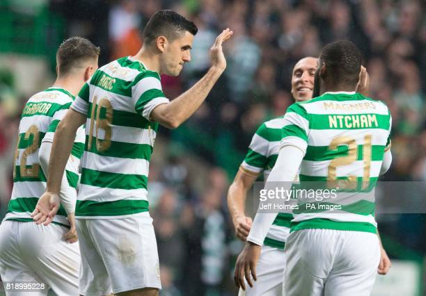 Celtic's Tom Rogic celebrates scoring his side's third goal of the game during the UEFA Champions League Qualifying Second Round Second Leg match at...