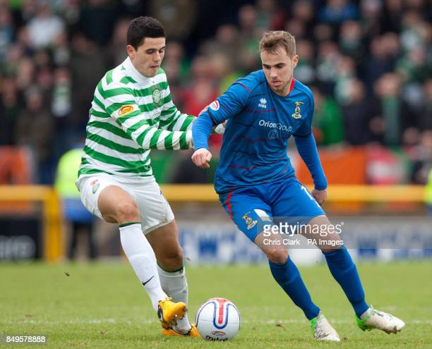 Celtic's Tomas Rogic and Inverness Caledonian Thistle's Andrew Shinnie battle for the ball during the Cyldesdale Bank Premier League at the Tulloch...