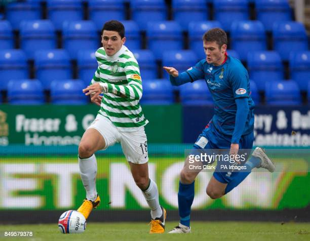 Celtic's Tomas Rogic breaks passed Inverness Caledonian Thistle's Owain Tudur Jones during the Cyldesdale Bank Premier League at the Tulloch...