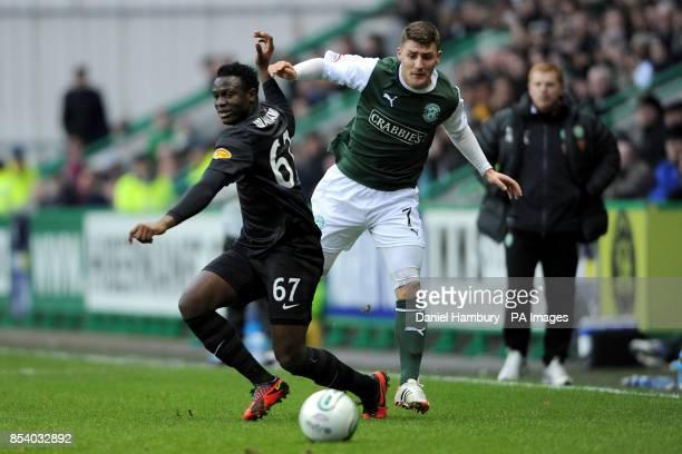 Celtic's Victor Wanyama and Hibernian's Gary Deegan battle for the ball