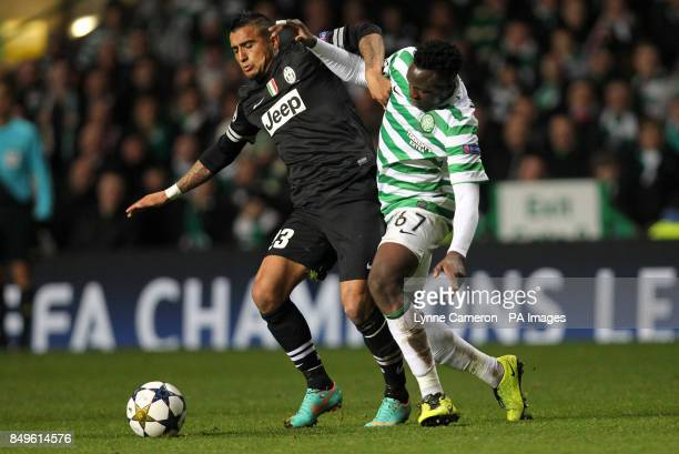 Celtic's Victor Wanyama and Juventus' Arturo Vidal during the UEFA Champions League Round of Sixteen match at Celtic Park Glasgow