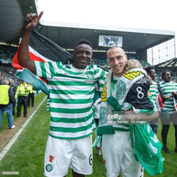 Celtic's Victor Wanyama and Scott Brown celebrate on the pitch after the Clydesdale Bank Premier League match at Celtic Park Glasgow