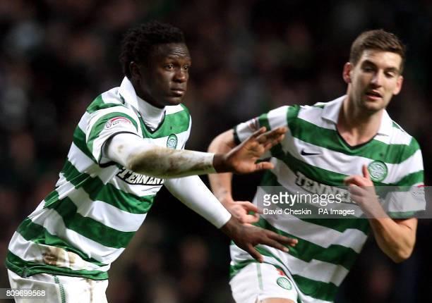 Celtic's Victor Wanyama celebrates his goal during the Clydesdale Bank Scottish Premier League match at Celtic Park Glasgow