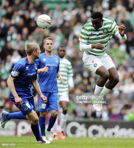 Celtic's Victor Wanyama heads during the Clydesdale Banks Scottish Premier League match at Celtic Park Glasgow