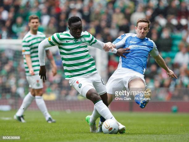 Celtic's Victor Wanyama vies for the ball with St Johnstone's Steven MacLean during the Clydesdale Bank Premier League match at Celtic Park Glasgow