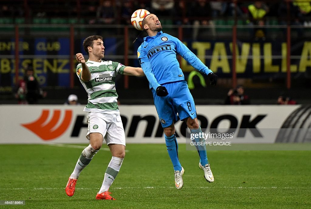 Celtic's Welsh defender <a gi-track='captionPersonalityLinkClicked' href=/galleries/search?phrase=Adam+Matthews+-+Soccer+Player&family=editorial&specificpeople=11408041 ng-click='$event.stopPropagation()'>Adam Matthews</a> (L) vies with Inter Milan's Argentinian forward <a gi-track='captionPersonalityLinkClicked' href=/galleries/search?phrase=Rodrigo+Palacio&family=editorial&specificpeople=490993 ng-click='$event.stopPropagation()'>Rodrigo Palacio</a> during the UEFA Europa League round of 32 second leg football match Inter Milan vs Celtic FC on February 26, 2015 at the San Siro Stadium stadium in Milan. AFP PHOTO / GIUSEPPE CACACE