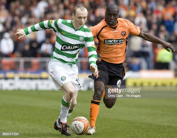 Celtic's Willo Flood and Dundee United's Morgaro Gomis battles for the ball during the Clydesdale Bank Scottish Premier League match at Tannadice...