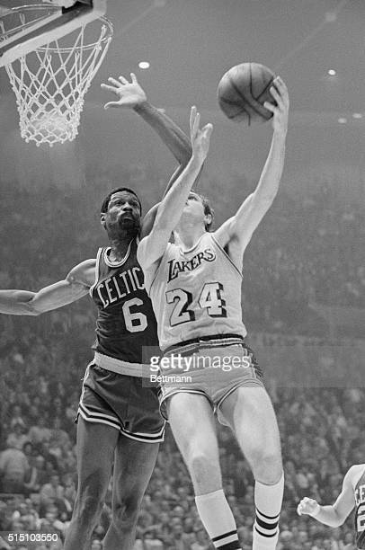 CELTICSLAKERSBoston's player coach Bill Russell blocks a shot by Keith Erickson as the Celtics go on to defeat the Lakers 108106 in the final game of...