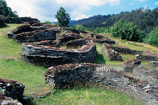 Celts Castro Culture Bronze AgeIron Age Ruins of the house of the Castro of Coan~a Villacondide Asturias Spain