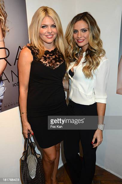 Celyne Durand and Clara Morgane attend the 'Clara Morgane 2014 Calendar' Launch And Party At the Galerie Hug on September 24 2013 in Paris France