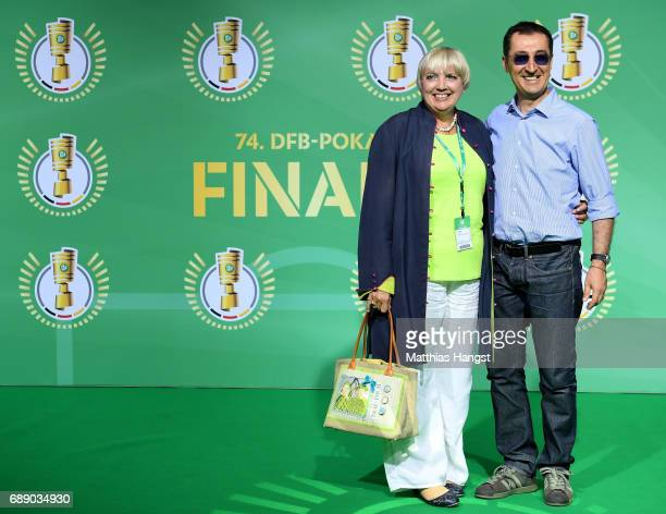 Cem Oezdemir and Claudia Roth arrive for the DFB Cup Final 2017 between Eintracht Frankfurt and Borussia Dortmund at Olympiastadion on May 27 2017 in...