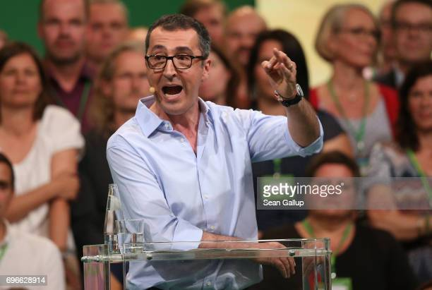 Cem Oezdemir colead candidate of the German Greens Party in German federal elections scheduled for September speaks to delegates on the first day of...