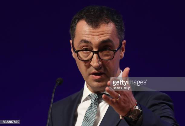 Cem Oezdemir colead candidate of the German Greens Party in German federal elections scheduled for September speaks at the annual congress of the...