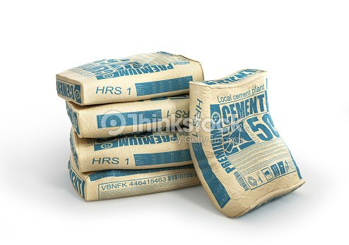 Cement bags stack. Paper sacks isolated on white background. 3d illustration : Stock Photo