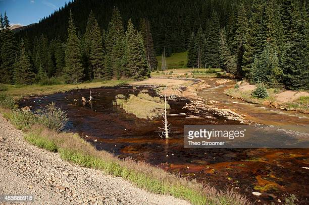 Cement Creek which was flooded with millions of gallons of mining wastewater is viewed on August 11 2015 in Silverton Colorado The Environmental...