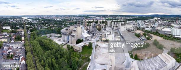 Cement factory and industrial area, aerial view