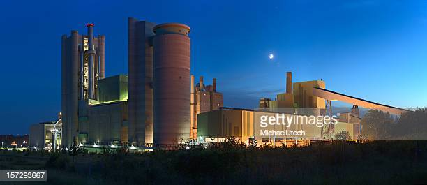 Cement Factory Panorama At Night