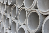 Cement pipes for construction water system.