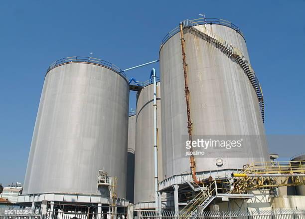 cement storage silos in the port of La Coruna