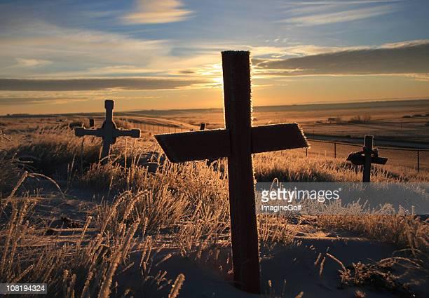 Friedhof auf kanadische-in der Abenddämmerung