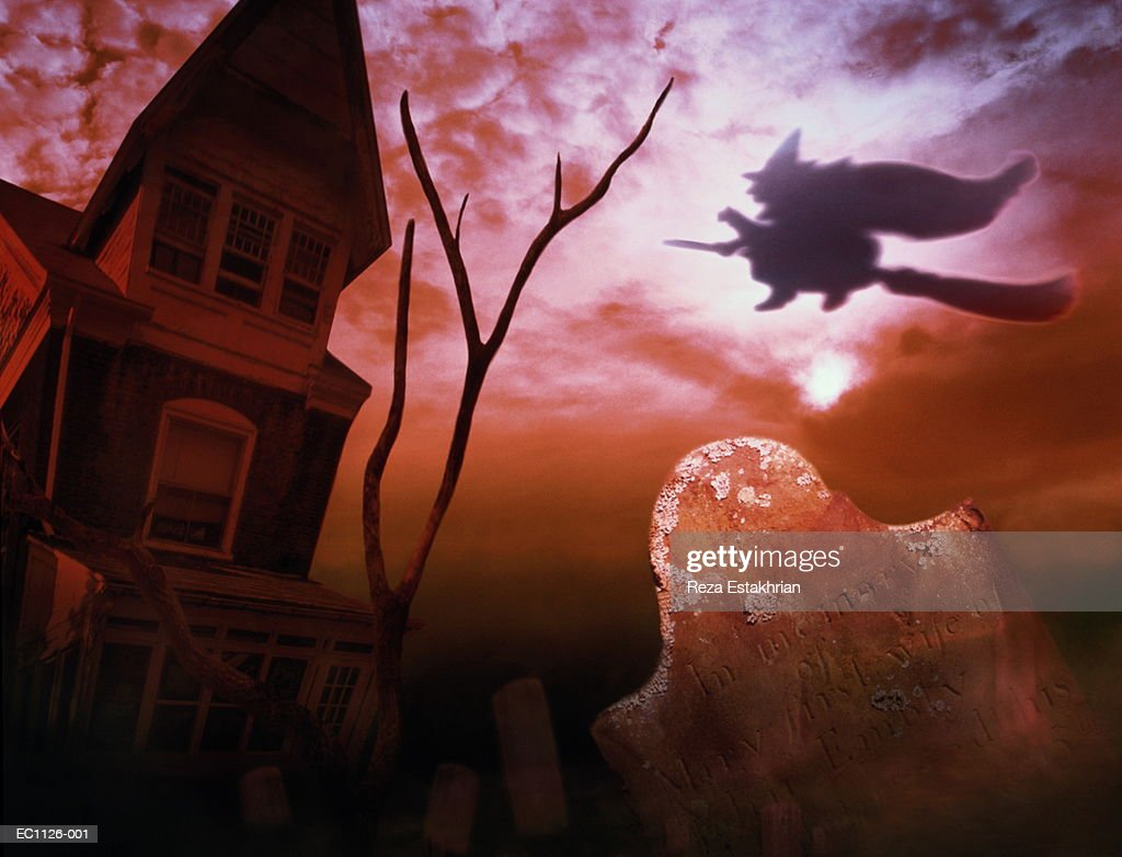 Cemetery, haunted house and witch flying on broom (Digital Composite) : Stock Photo