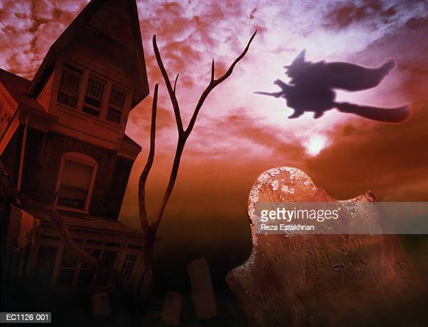 Cemetery, haunted house and witch flying on broom (Digital Composite)