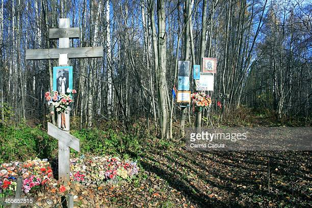 Cemetery near of the Memorial Flower of Life of the The Road of Life Stantsiva Rzhevka Leningrad region Russia Federation October 2013