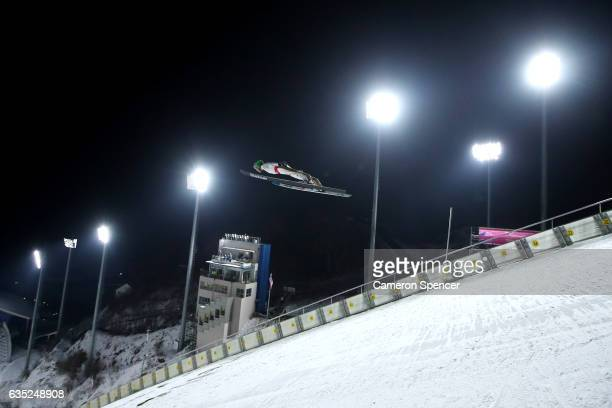 Cene Prevec of Slovakia jumps during trainining for the 2017 FIS Ski Jumping World Cup test event For PyeongChang 2018 at Alpensia Ski Jumping Center...
