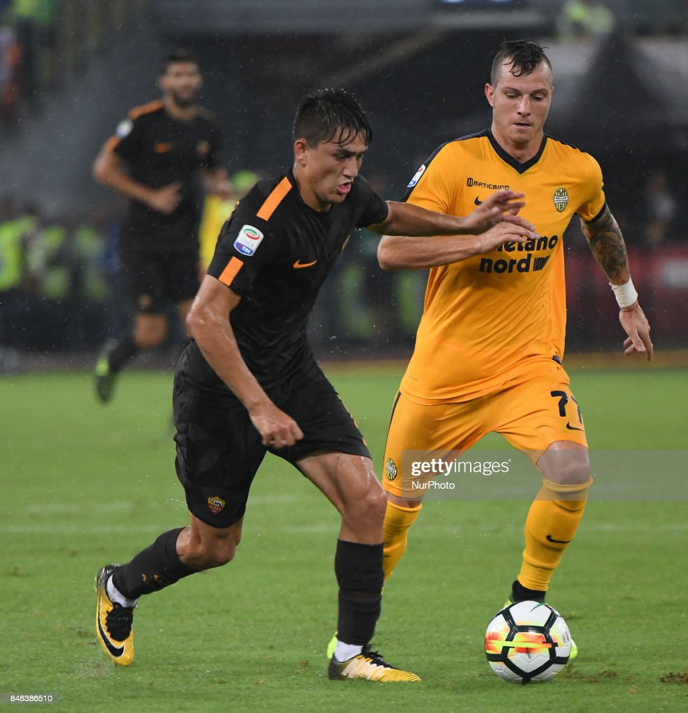 Cengiz Under during the Italian Serie A football match between A.S. Roma and F.C. Hellas Verona at the Olympic Stadium in Rome, on september 16, 2017.