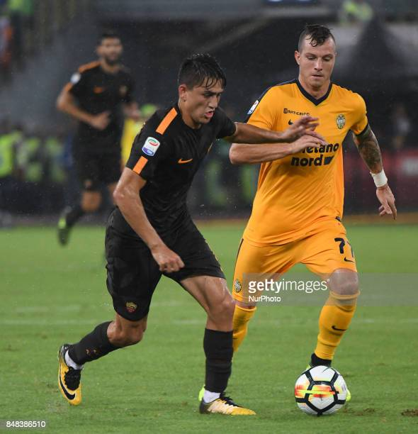 Cengiz Under during the Italian Serie A football match between AS Roma and FC Hellas Verona at the Olympic Stadium in Rome on september 16 2017
