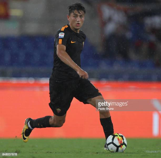 Cengiz Under of AS Roma in action during the Serie A match between AS Roma and Hellas Verona FC at Stadio Olimpico on September 16 2017 in Rome Italy