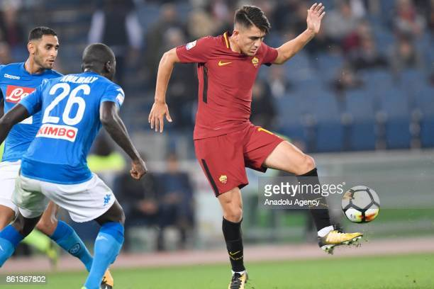Cengiz Under of AS Roma in action during the Serie A soccer match between AS Roma and SSC Napoli at Stadio Olimpico on October 14 2017 in Rome Italy