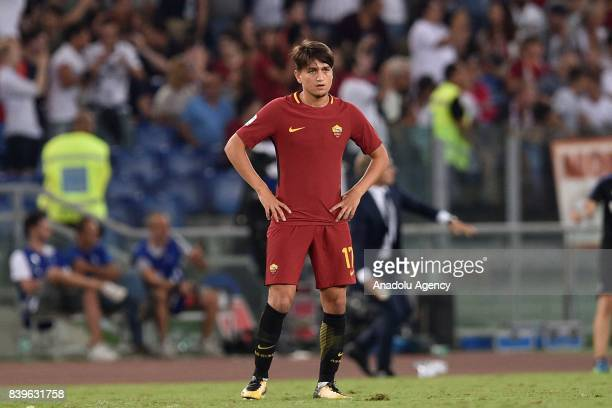 Cengiz Under of AS Roma is seen during Italian Serie A soccer match between AS Roma and FC Intenational Milano at Stadio Olimpico on August 26 2017...