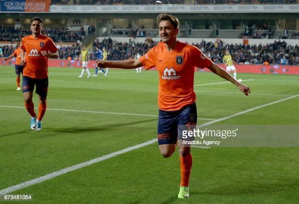 Cengiz Under of Medipol Basaksehir celebrates after scoring a goal during the Ziraat Turkish Cup semi final soccer match between Medipol Basaksehir...