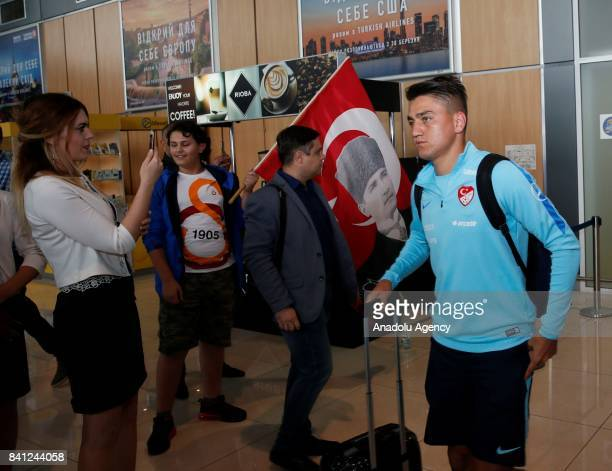 Cengiz Under of Turkey arrives at the Kharkiv International Airpor along with his team prior to 2018 FIFA World Cup qualification match between...