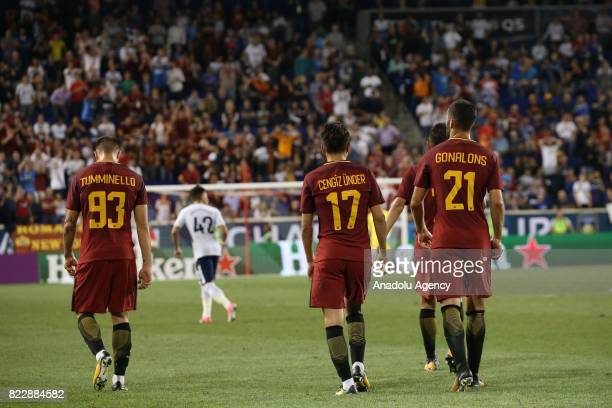 Cengiz Under Tumminello and Maxime Gonalons of AS Roma warm up before a friendly match between AS Roma and Tottenham Hotspur within International...