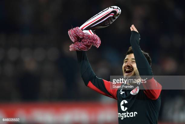 Cenk Sahin of St Pauli celebrates after the Second Bundesliga match between FC St Pauli and Karlsruher SC at Millerntor Stadium on February 27 2017...